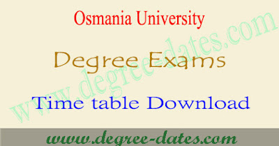 OU degree 1st year BA time table Osmania university hall tickets results