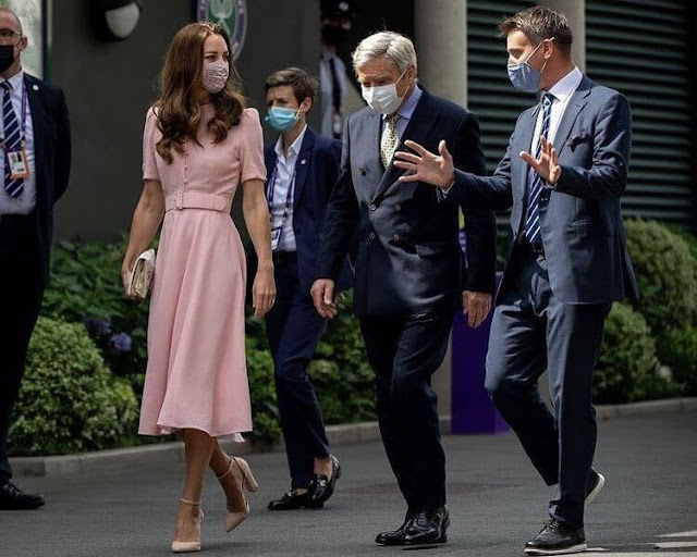 Kate Middleton is wearing Beulah London's Ahana dress, her Aldo Nicholes shoes and Mappin and Webb Empress earrings