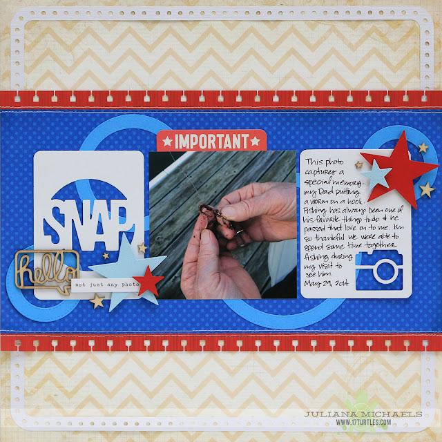 Snap Fishing Memories Scrapbook Page by Juliana Michaels