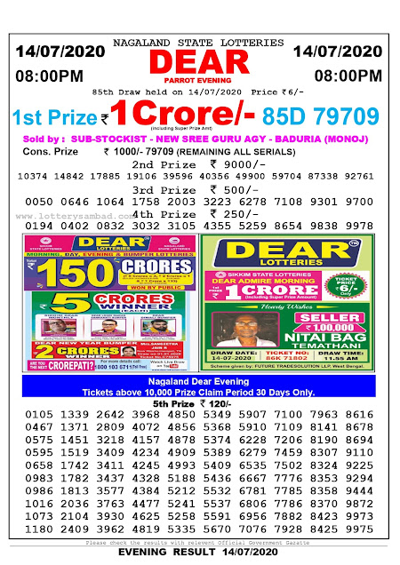 Nagaland State Lottery Sambad 14-07-2020 Today Result 8 PM