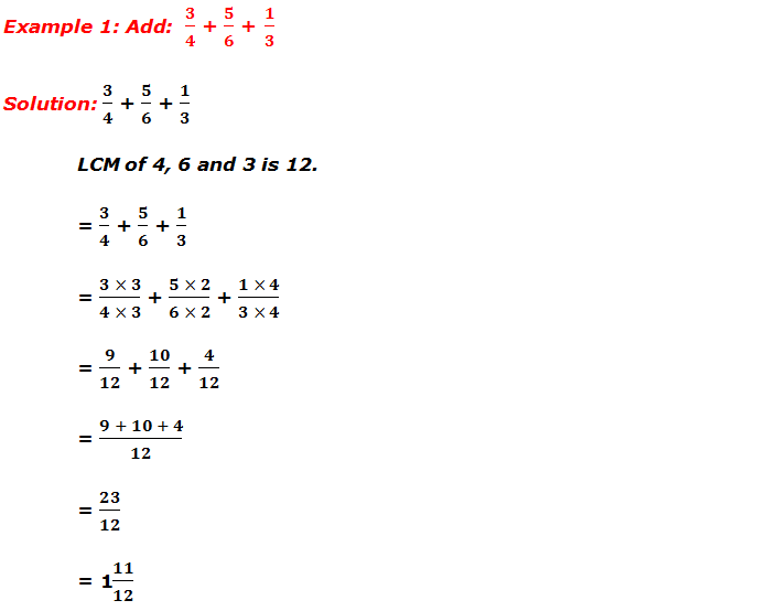 Example 1: Addition of fractions