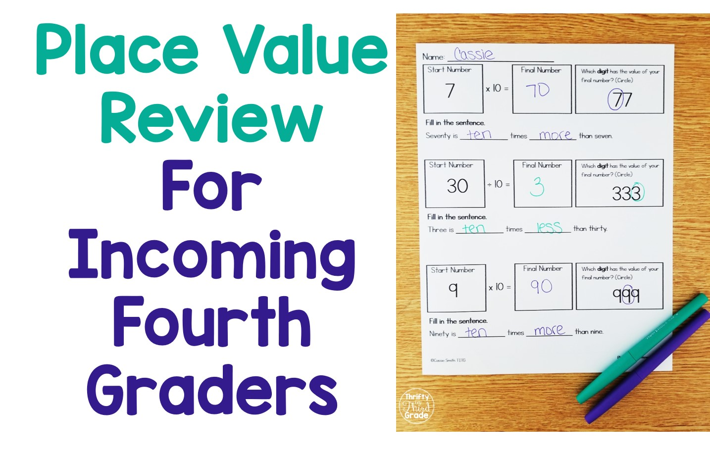 Place Value Review For Incoming Fourth Graders