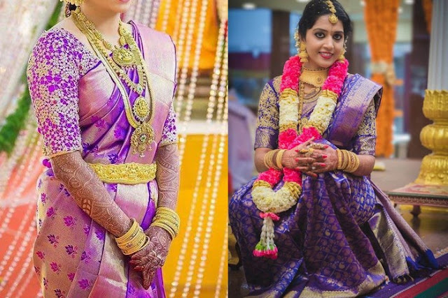 Brides in Purple South Indian Sarees