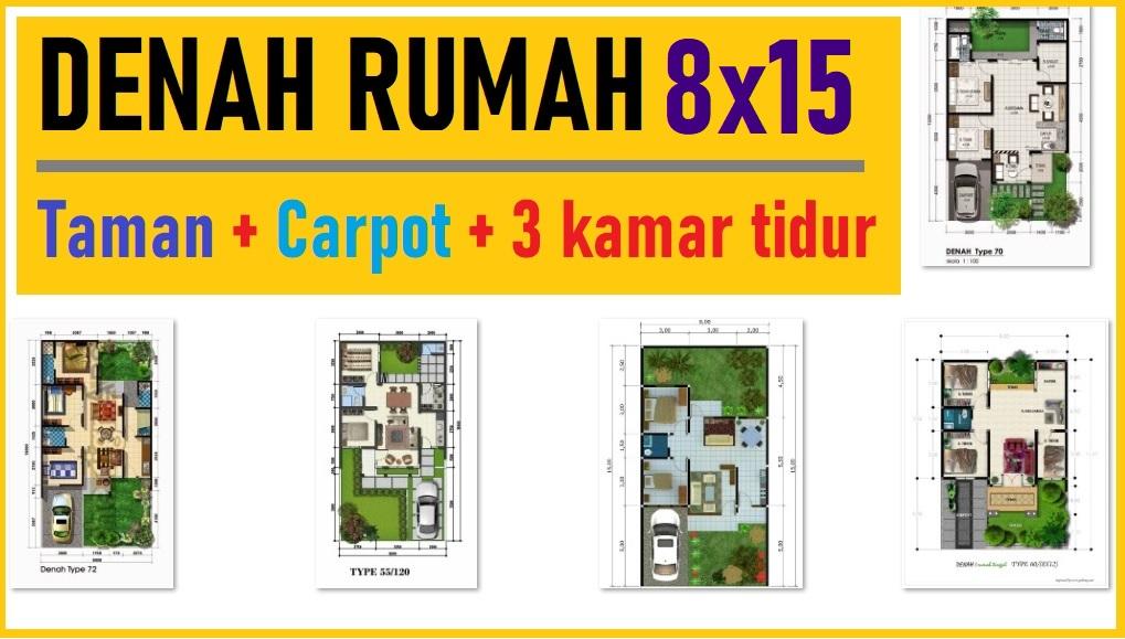 Denah Rumah 8x15 3 Kamar Tidur Desain Rumah Minimalis