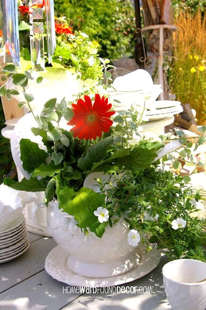 repurposed tabletop planters for your spring tablescapes from homewardfound decor