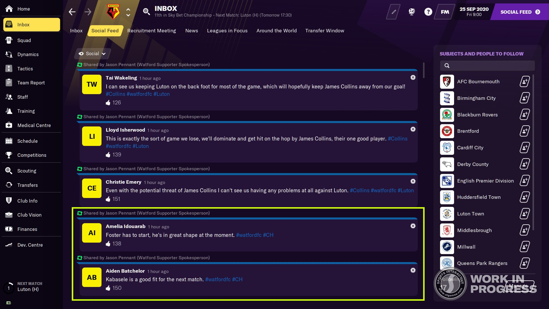 Football Manager 2021 Social media rumours