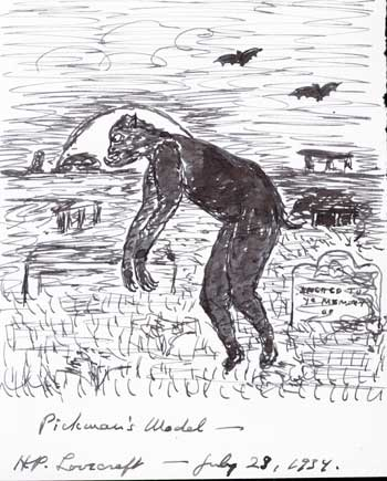 H.P. Lovecraft's drawing of a ghoul.