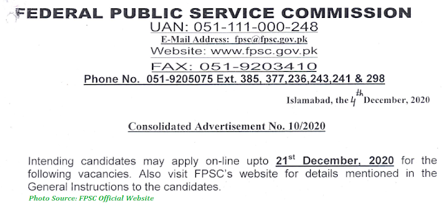 FPSC Jobs 2020 - Latest Jobs in Federal Public Service Commission Advertisement No. 10/2020 www.fpsc-gov.pk