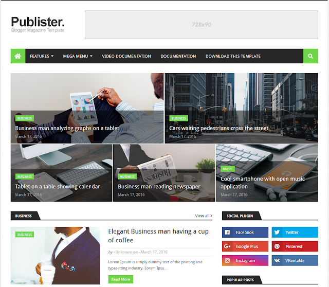 Giao diện theme Publister