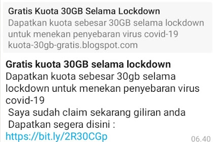 Hati-hati spam whatsapp gratis kuota 30 GB selama masa lockdown