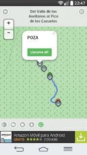 Captura de pantalla en un móvil Android de la app Rutas Senderismo, con miles de rutas por Europa