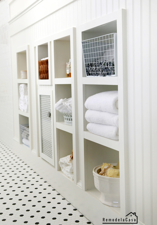 white bathroom shelves