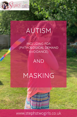 Pinnable image with text Autism, including PDA (pathological demand avoidance) and masking