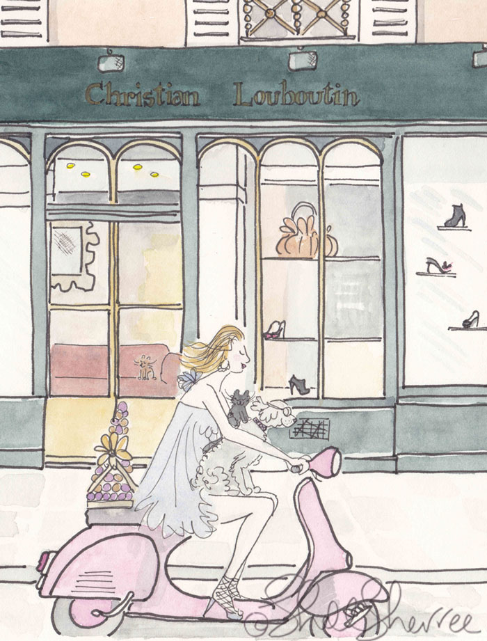 Christian Louboutin Paris, Pink Scooter and Festive Fashion illustration © Shell Sherree all rights reserved