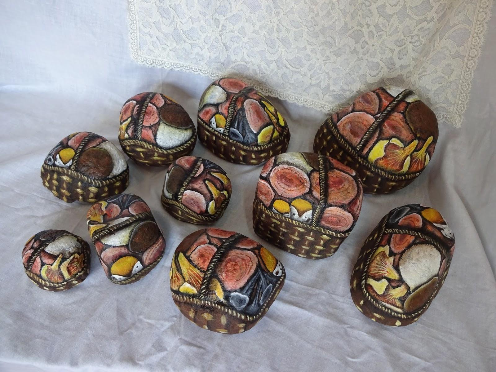 Piedras pintadas a mano como pintar piedras con cestas de for Como pintar piedras