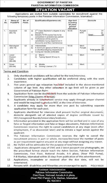 Pakistan Information Commission Management Jobs 2020