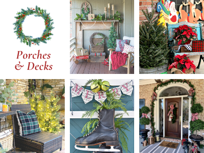 porch and deck Christmas decor collage photo