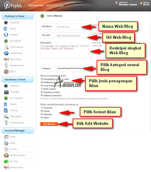 Form data Blog anda