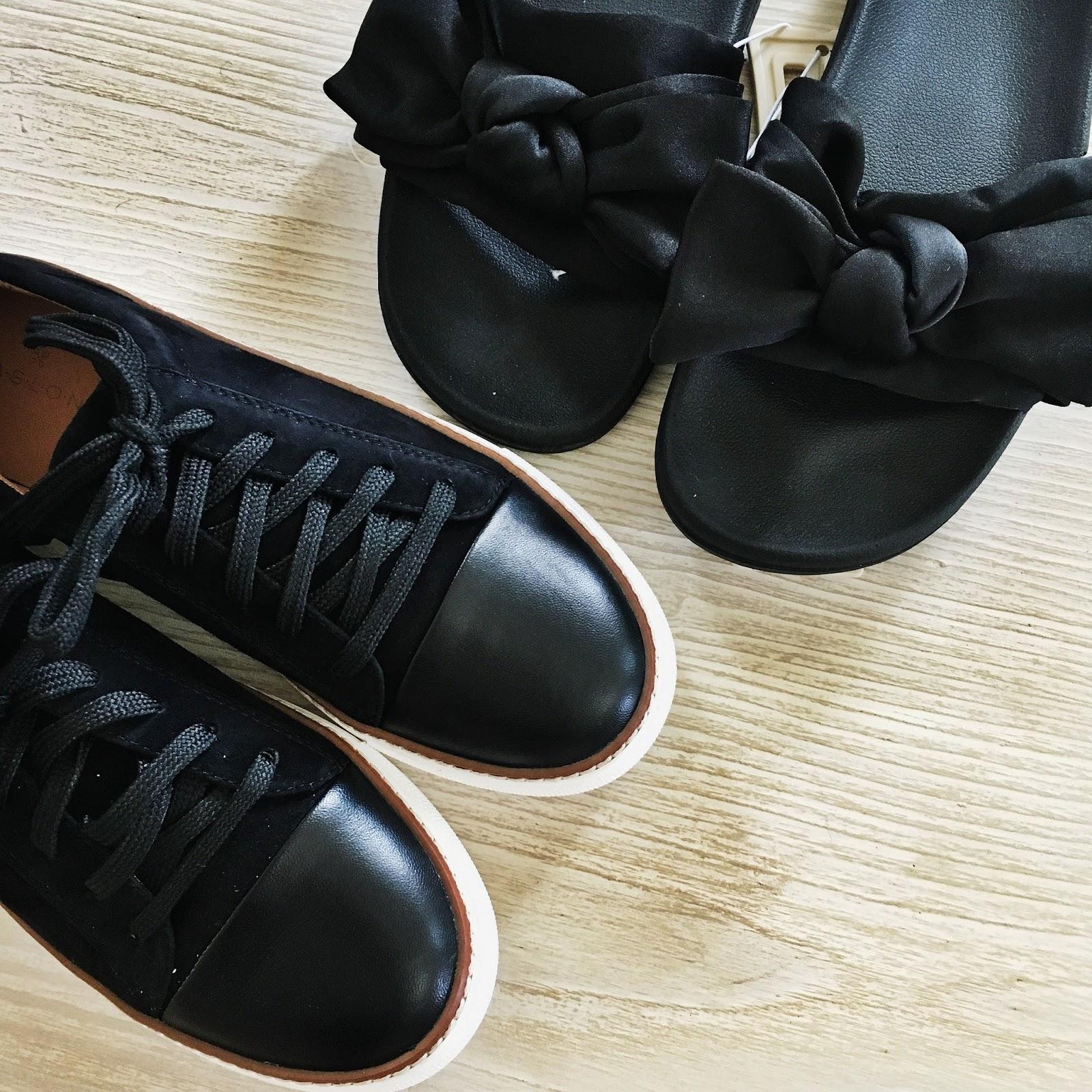 black satin bow slides black cap toe sneakers