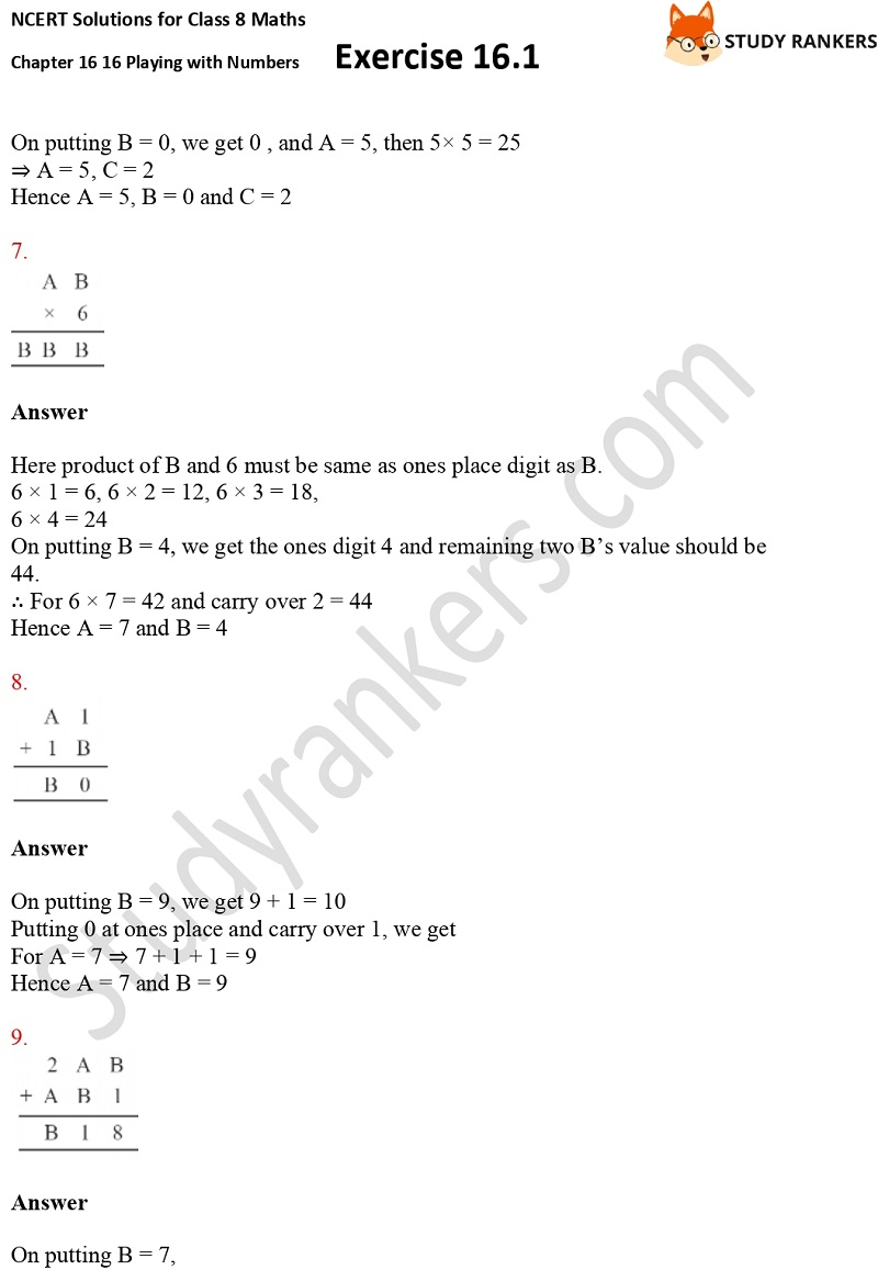 NCERT Solutions for Class 8 Maths Ch 16 Playing with Numbers Geometry Exercise 16.1 3