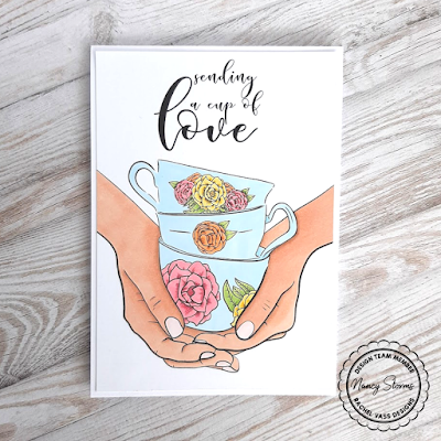 Rachel Vass Designs - Sketchy Rose Teacups