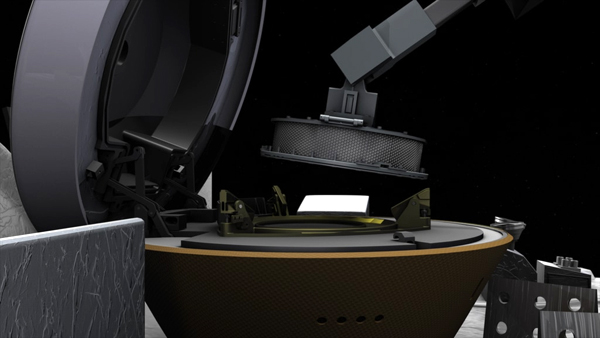 A screenshot from a computer animation showing the collector head that contains soil samples from asteroid Bennu about to be placed inside the Sample Return Capsule aboard NASA's OSIRIS-REx spacecraft.