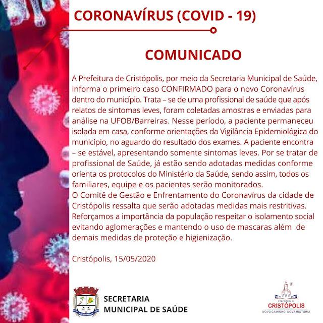Cristópolis confirma 1° caso positivo de Coronavírus dentro do município