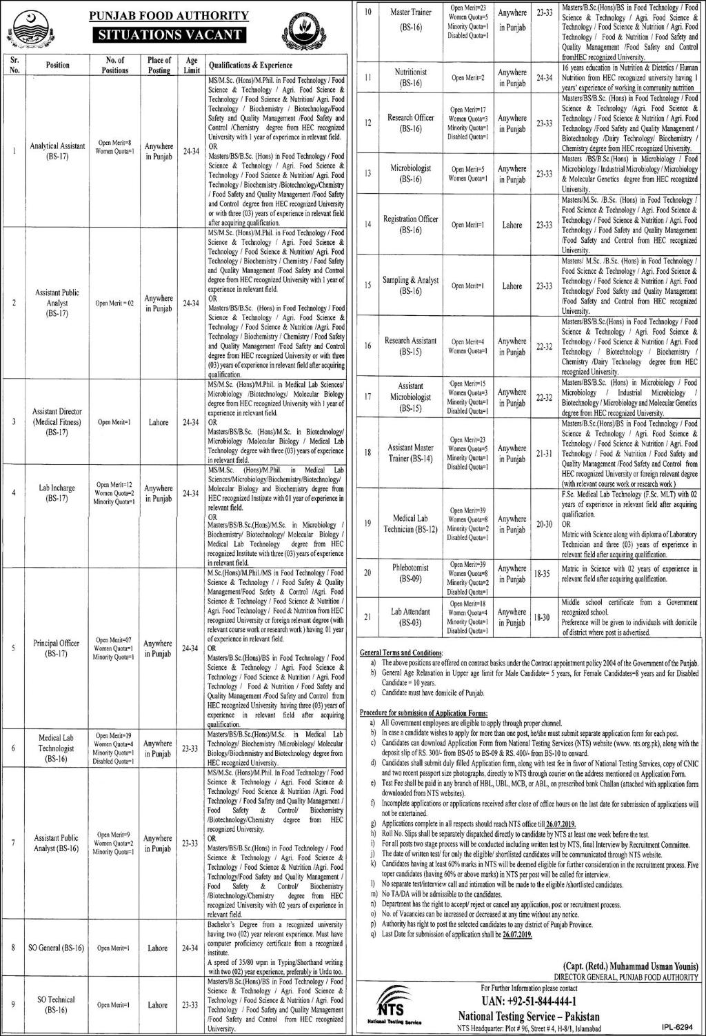 Advertisement 2 for Punjab Food Authority Jobs 2019