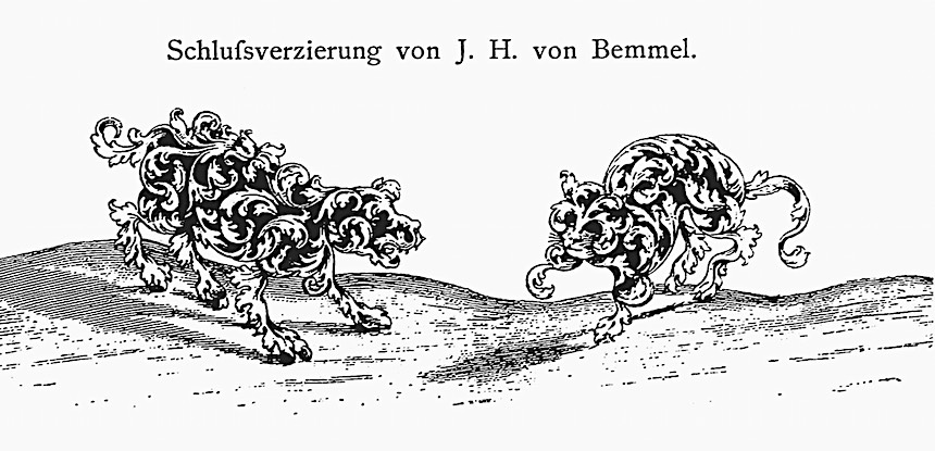 1600s animal drawings, Schlufsverzierung von JH von Bemmel, dog and cat