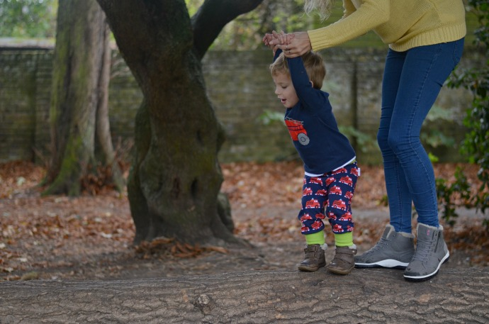 Autumn activities with kids, Maxomorra, fire engine boys clothes, strive footwear