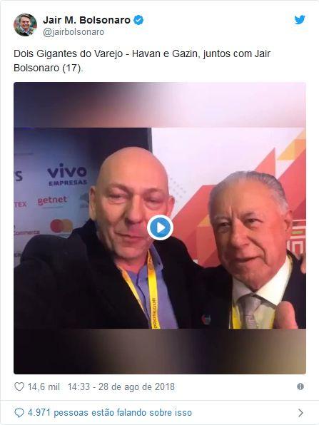 Print de Tweet de Bolsonaro com vídeo dos empreários afirmando que botaram dinheiro na campanha