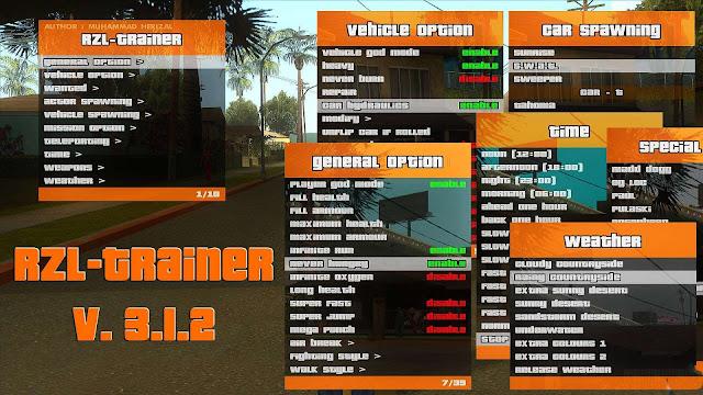 GTA San Andreas RZL Trainer V.3.12 Convenient Cheat Menu Like In GTA 5 2021