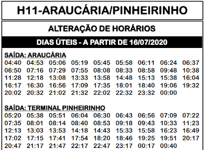 Horário de ônibus H11 ARAUCÁRIA / PINHEIRINHO 2021 | Araucária PR