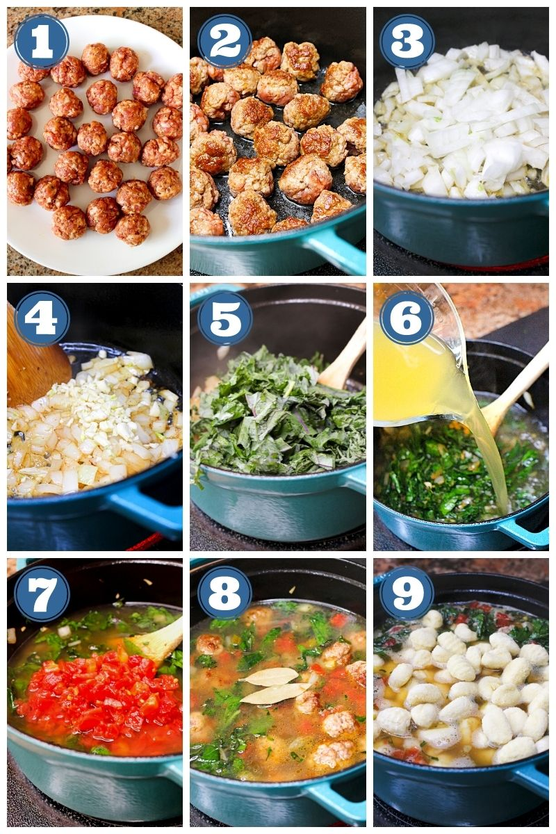 A collage of step by step images of the soup being made.