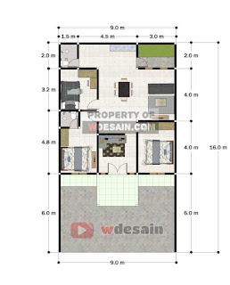 Denah Rumah Minimalis 9x16 Meter