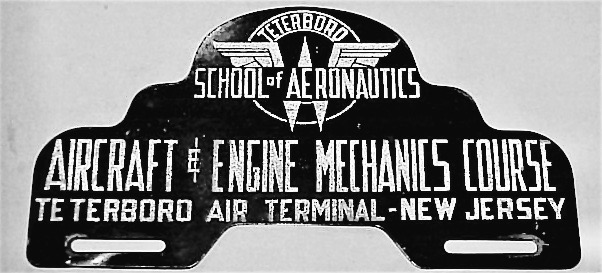 Old metal sign for New Jersey's Teterboro School of Aeronautics, where drunken pilot Thomas Fitzpatrick, stole small aircraft to land on the streets of Manhattan during bar bets in the 1950s. The Best Bet EVER and other stories about pilots. marchmatron.com