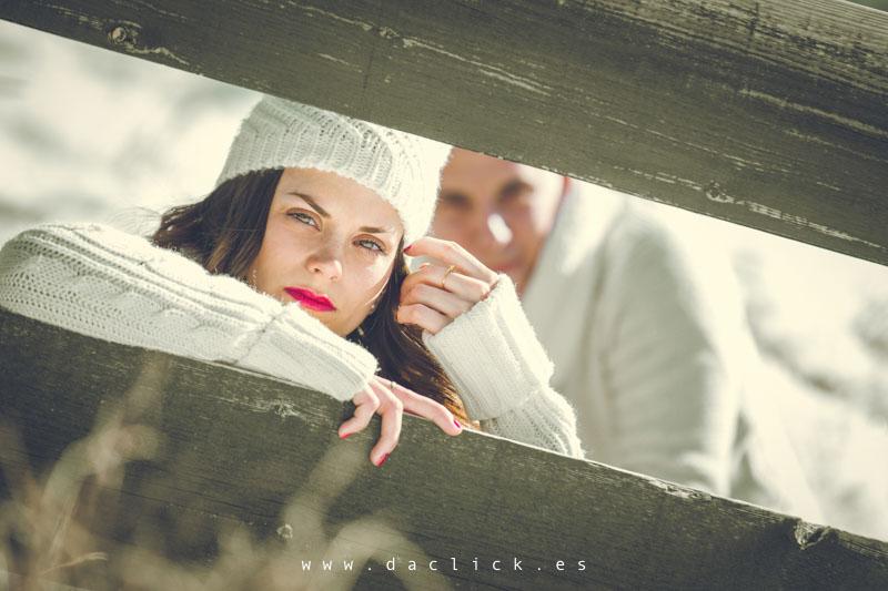 novio y novia madera y nieve