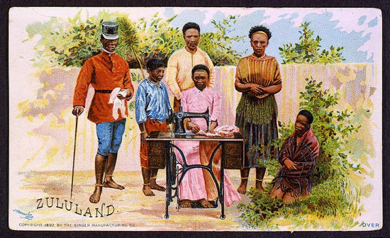 Singer sewing machines ad card 1892 - Zululand