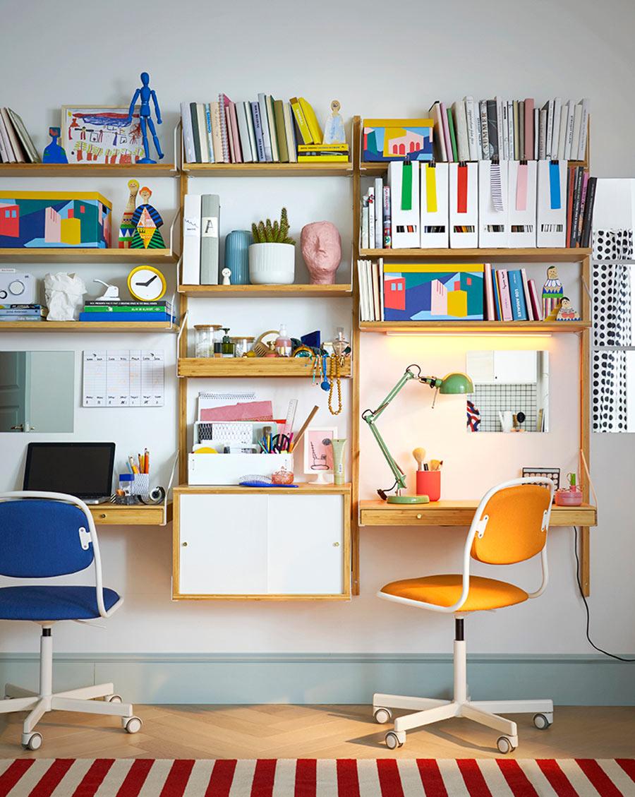 novedad catálogo ikea 2020 salón con escritorio para niños color