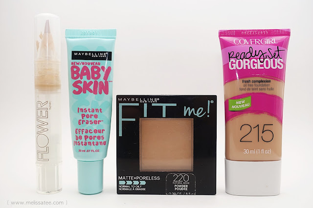 budget beauty, budget buys, budget makeup, makeup under 10 dollars, drugstore makeup, best drugstore makeup, flower beauty, maybelline, covergirl, flower beauty lighten up concealer, maybelline baby skin, maybelline fit me, maybelline fit me matte, maybelline powder, maybelline pressed powder, covergirl ready set gorgeous, covergirl ready set gorgeous foundation, covergirl foundation, covergirl 215