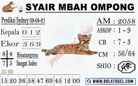 Syair Mbah Ompong Sydney Jumat 09-Apr-2021