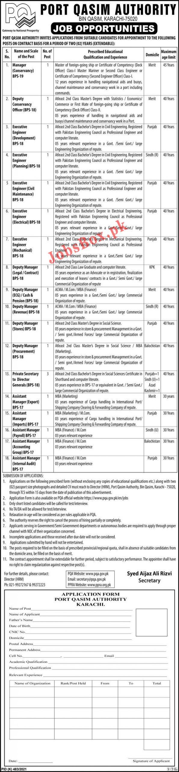 Port Qasim Authority PQA Jobs 2021 – Application Form via www.pqa.gov.pk