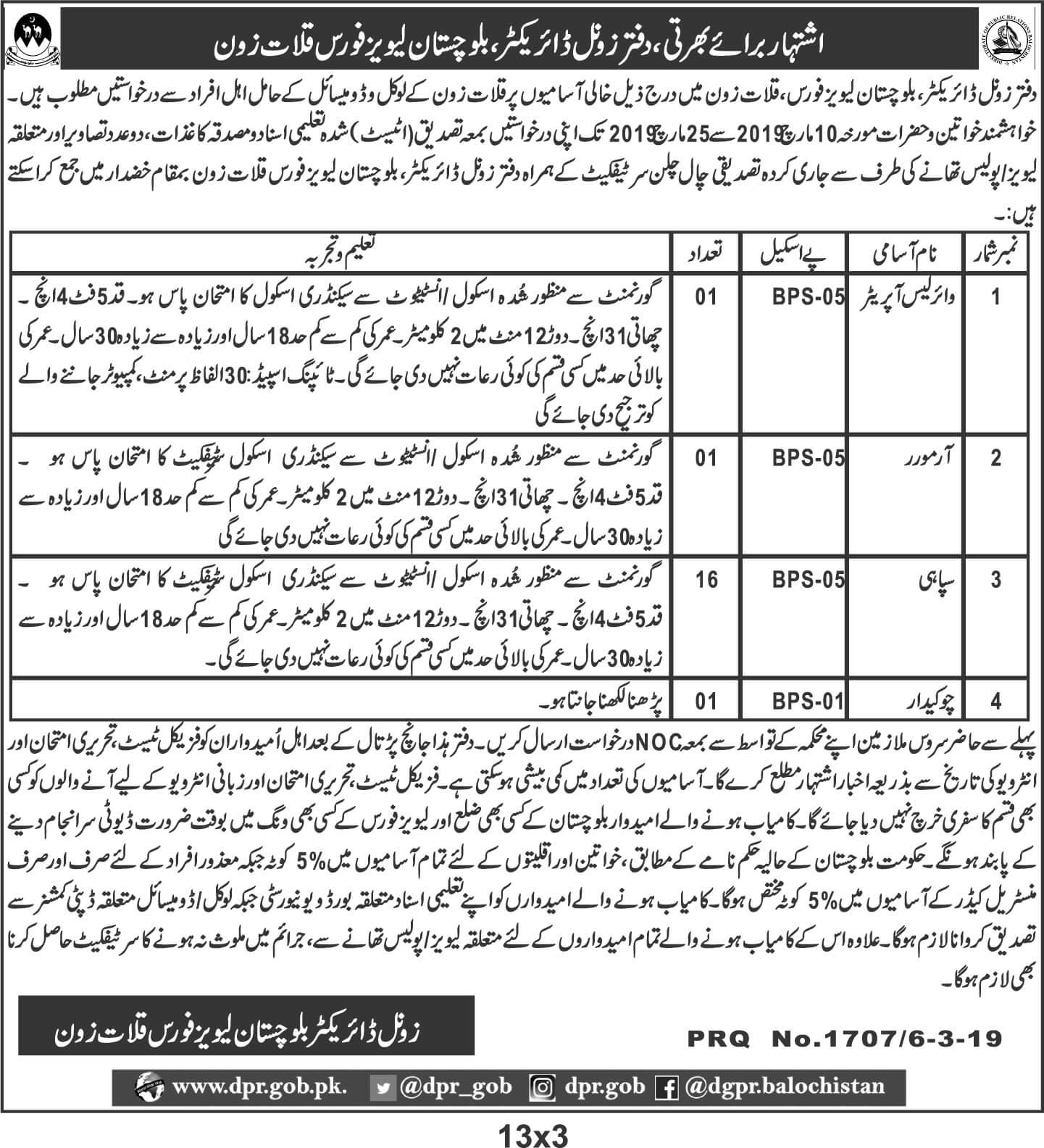 Jobs in balochistan levis force kalat zone 2019