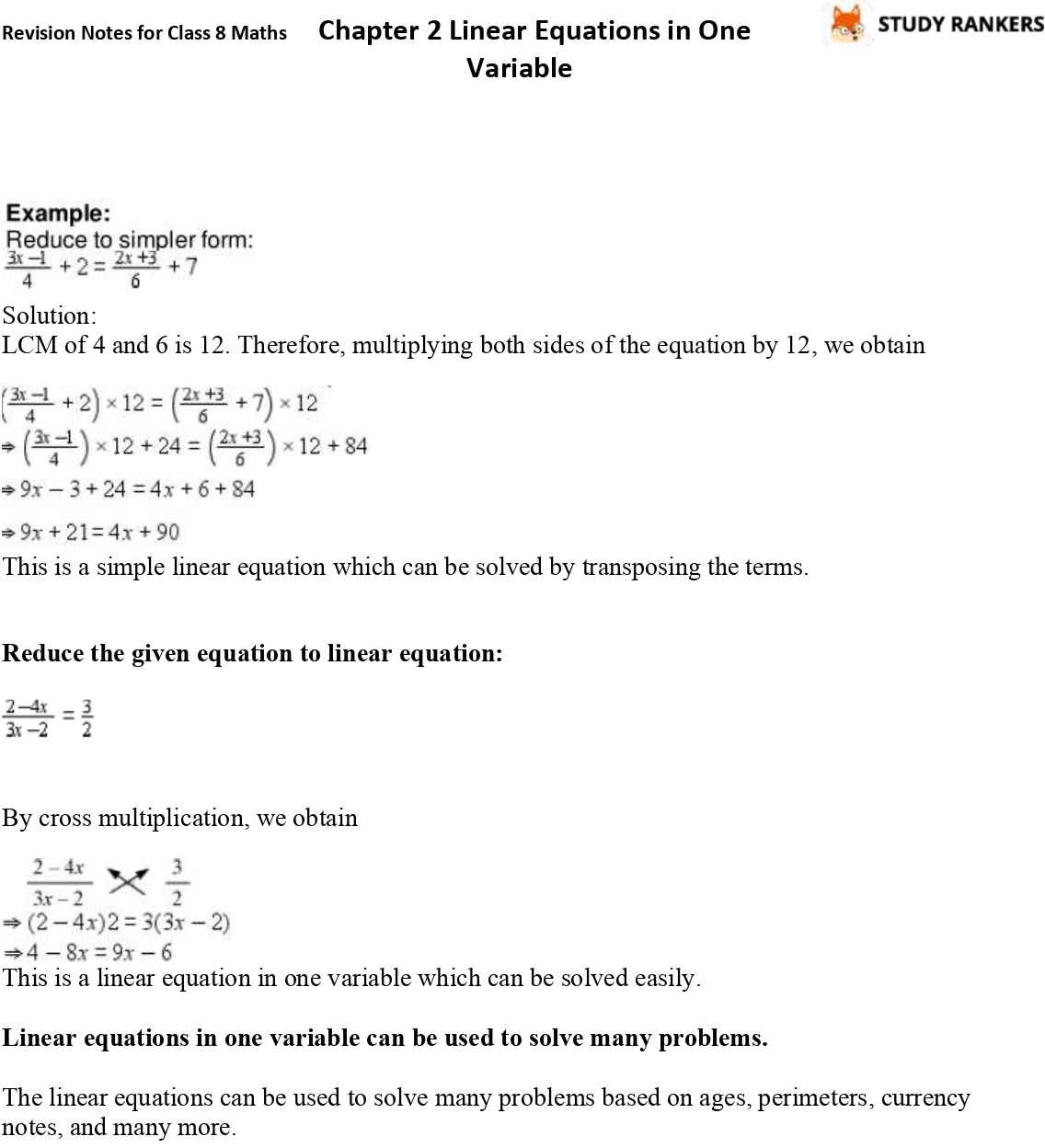 CBSE Revision Notes for Class 8 Chapter 2 Linear Equations in One Variable Part 2