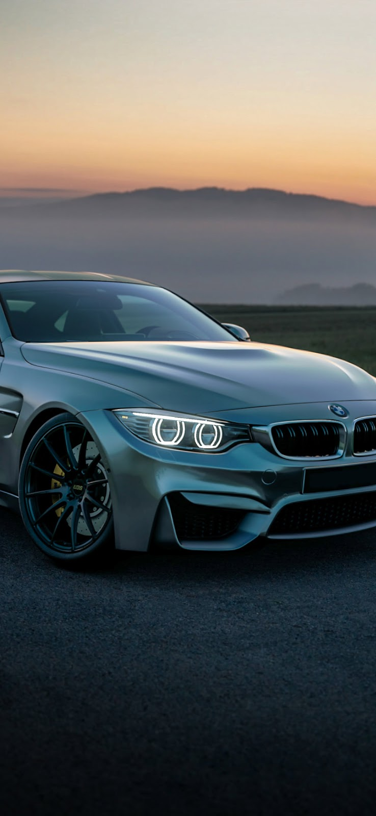 Gray BMW coupe on black asphalt road