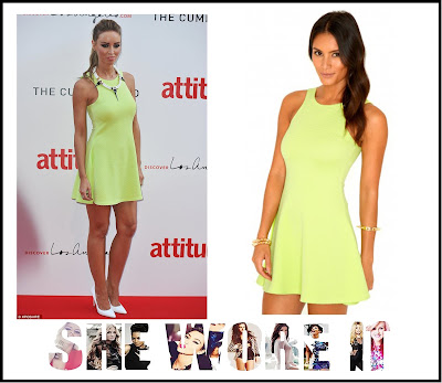 Bright, Dress, Exposed Zip, Lauren Pope, Lime Green, Mini Dress, Missguided, Neon, Racerback, Ribbed, Sleeveless, The Only Way Is Essex, TOWIE,