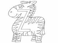 Z For Zebra - Alphabets Coloring Page For Kids