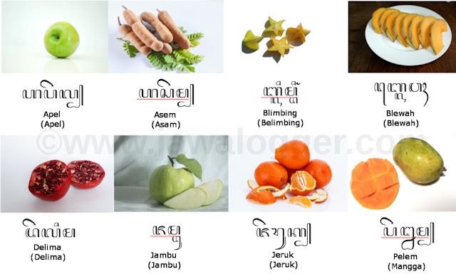 nama-nama buah menggunakan bahasa dan aksara Jawa