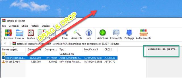 estrazione dei file contenuti in un file archivio rar