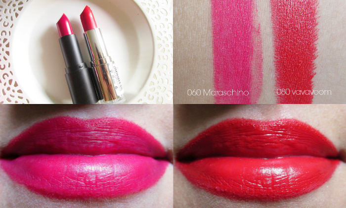 Review, Swatches, Tragebilder: just cosmetics matte finish lipstick 060 maraschino - 2.29 Euro intense finish lipstick 080 vavavoom - 2.29 Euro